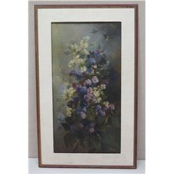 Framed Art - Purple & White Flowers 22.5 x 37