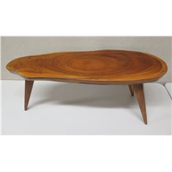 "Oval Koa Wood Coffee Table, Freeform w/ 3 Legs, Approx. 38""L, 17""H"