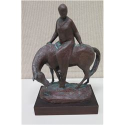 "Horse & Rider on Base, Signed by Artist M. Pineda '81 (14"" Tall)"
