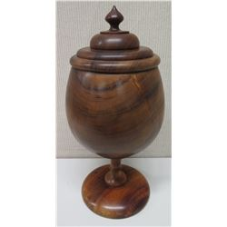 "Tall Lidded Lathe-Turned Wooden Bowl on Pedestal Base, Approx. 24"" Tall"