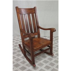 "High-Back Koa Wood Rocking Chair w/ Slatted Back (44"" Back Ht)"
