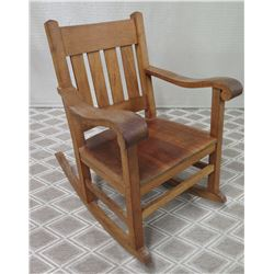 "Koa Wood Rocking Chair w/ Slatted Back (35"" Back Ht)"