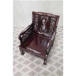 Dark Lacquered Wooden Armchair w/ Inlaid Mother of Pearl Accents