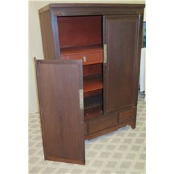 "Tall Wooden 2-Door Cabinet w/ Interior Drawers 41""W, 24""D, 63""H (one door not attached, some damage)"