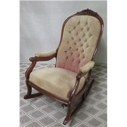 "Carved Wooden Upholstered Rocking Chair w/ Tufted Backrest, Approx. 40""H"