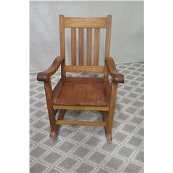 "Koa Wood Rocking  Chair w/ Slatted Back, ""Sasaki"" Label Underneath, Approx. 35"" H"
