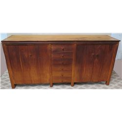 "Vintage Solid Wood Sideboard w/ 2 Cabinets & 6 Middle Drawers, 7ft x 21""D x 40""H"