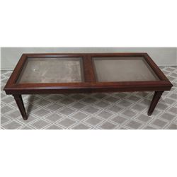 "Long Wooden Coffee Table w/ Glass-Display Top (Slides Out) 53"" x 23"" x 17""H"