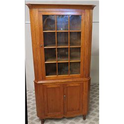 "Tall Koa Wood Corner Display Cabinet with Glass Panel 42""W x 18""D x 86""H"