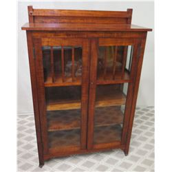 "Koa Wood Cabinet w/ 2 Glass Doors 40""W x 16""D x 57""H"