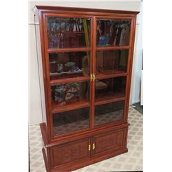 Wooden Display Cabinet w/ Glass-Panel Doors 47.5 x 20 x 80H
