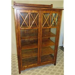 "Tall Koa Wood Cabinet with 2 Glass Doors, X Design, 47""W x 23""D x 73""H"