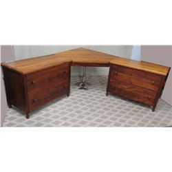 3-Piece Koa Desk Ensemble w/ 2 Lateral File Cabinets (Desk Piece Mounts to Wall)