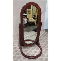 "Oval Koa Wood Frame Mirror on Wooden Stand 26"" Wide, 54"" Tall"