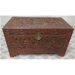 "Carved Wooden Chest w/ Hasp & Solid Wood Interior 39"" x 20""x 23.5""H"