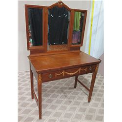 "Wooden Vanity Table Swag Ornamentation, Drawer & 3-Panel Mirror, Luce Furniture Co. 36"" x 19"" x 58""H"