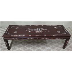 "Lacquered Coffee Table w/ Inlaid Mother of Pearl 60"" x 22"" x 17""H"