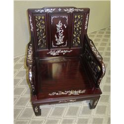 Lacquered Rosewood Armchair w/ Inlaid Mother of Pearl