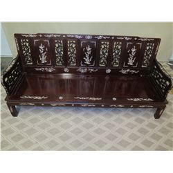 Lacquered Rosewood Sofa w/ Inlaid Mother of Pearl & Seat Cushion