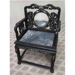 Black Mother of Pearl Inlaid Chair with Stone Seat