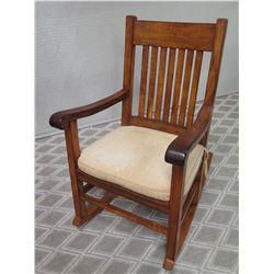 Koa Wood Rocking  Chair w/ Slatted Back & Cushion