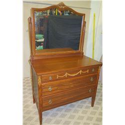 Wooden 3-Drawer Dresser & Mirror w/ Swag Ornamentation - Luce Furniture Company
