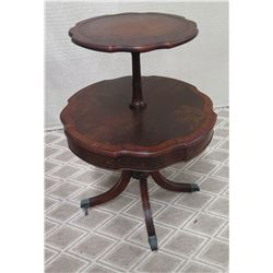 Round Wooden 2-Tiered Table (Has Some Surface Wear)