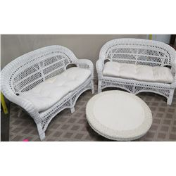 Pair of White Wicker Rattan Love Seats w/ Seat Cushions & Round Ottoman