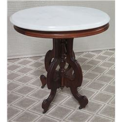 Round Wooden Table with Natural Stone Top