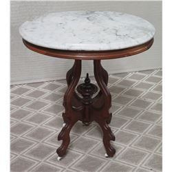 "Round Wooden Table with Natural Stone Top (top cracked/damaged) 18""Dia, 29""H"