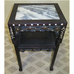 Dark End Table w/ Mother of Pearl Inlay & Natural Stone Top