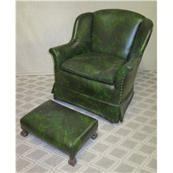 Green Upholstered Chair w/ Stud Detail & Matching Ottoman