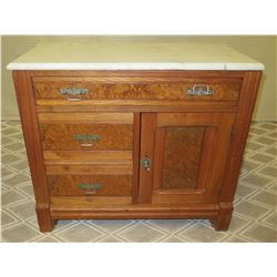 """Wooden 3-Drawer Wooden Chest with  Cabinet & Stone Top (may have termite damage) Approx. 31""""W x 16""""D"""