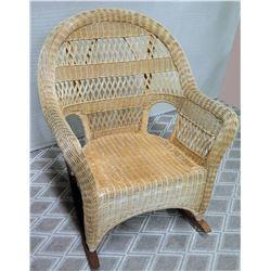 "Wicker Rattan Rocking Chair w/ Wood Rocker, Approx. 30""W, 38.5"" Tall"