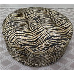 """Round Animal Print Upholstered Table/Ottoman Approx. 35"""" Dia."""