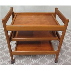 "Wooden 3-Tier Rolling Serving Cart, Approx. 29""W, 19""D, 28""H"