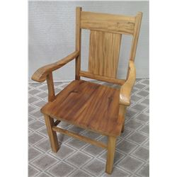 Solid Wood High-Back Armchair