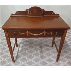"Wooden Desk with Drawer and Swag Ornamentation, Approx. 36""W x 19""D x 36""H"