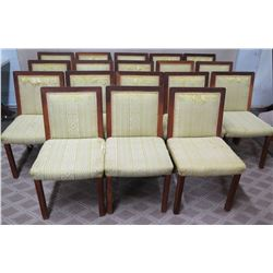Qty 18 Wooden Chairs w/ Upholstered Seat & Backrest, Belonged to Francis I'I Brown (some damage to w