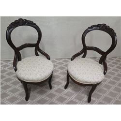 """Pair of  Round Carved Wood Chairs w/ Upholstered Seat (some damage to frame) Approx. 36"""" Tall"""