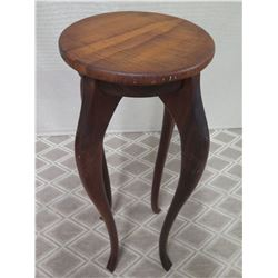 Round Tall Koa Wood Stand w/ 4 Curved Legs, Signed