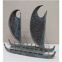 "Metal Double-Hulled Outrigger Canoe w/ Double Sails, Approx. 27"" Across, 22"" Tall"