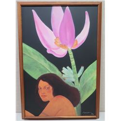 Framed Pegge Hopper Giclee on Canvas, Signed, 28 of 195, Hawaiian Girl & Flower, Approx. 26x38