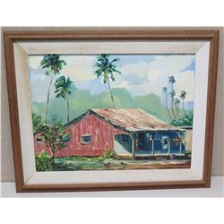 """Framed Original Painting on Canvas, Old Hawaiian Home, Signed '71 (29.5"""" x 23.5"""")"""