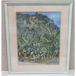 """Framed Watercolor """"Banana Patch Punalu'u"""" 23x26"""