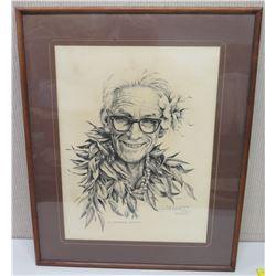 """Framed Black & White Art: """"Dr. Kenneth Emori"""", Signed G. Bennett 1981 (26x32)"""