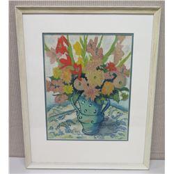 Framed Art, Still Life: Flowers in Vase 23x29