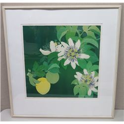 Large Framed Art: Lilikoi Passion Flowers, 36x38, Signed Janet Holaday 1981 (has age spots & scratch
