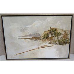 "Framed Original Painting on Canvas 20x30 ""Quiet Shoreline"", Signed"