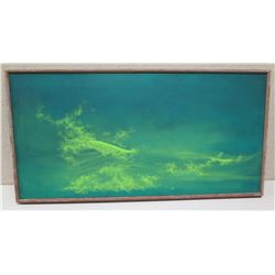 Framed Art on Canvas, Abstract Wave, Signed on Back 36.5x19.5